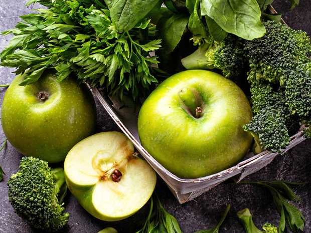 Green vegetables and fruits.