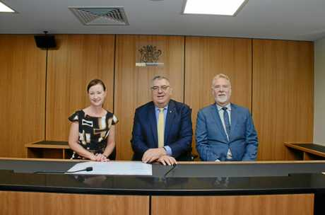 Queensland Attorney-General Yvette D'Arth, Chief Magistrate Ray Rinaudo and Kingaroy Magistrate Andrew Hackett at the opening of the new Kingaroy Courthouse.