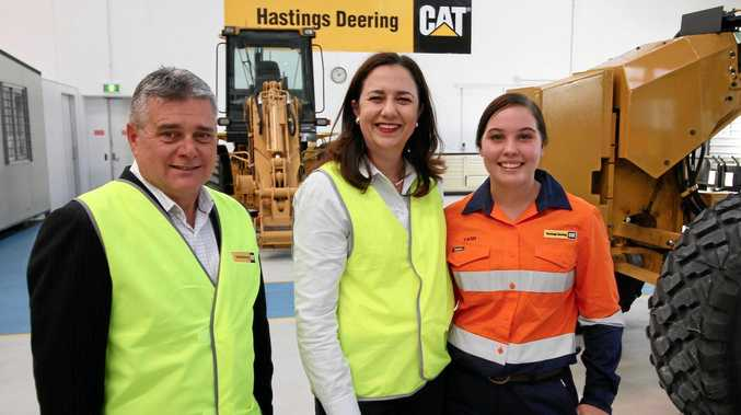 Queensland Premier Annastacia Palaszczuk joined Hastings Deering Managing Director Dean Mehmet for the induction of 48 new apprentices with Rockhampton's Natasha Stark given a chance to talk to the Premier about her new job.