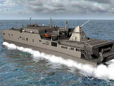 Artist rendering shows the Office of Naval Research-funded electromagnetic rail gun installed aboard the joint high-speed vessel USNS Millinocket (JHSV 3). Picture: US Navy
