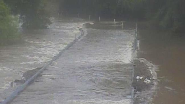 Peets Bridge in Goldsborough has been cut off by the rising Mulgrave River.