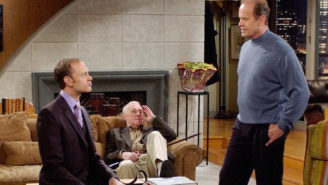 David Hyde Pierce, John Mahoney and Kelsey Grammer in hit sitcom Frasier.