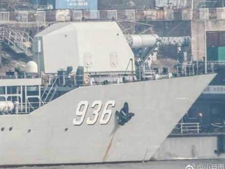 A close-up of the apparent railgun aboard the Chinese landing ship Haiyangshan. Picture: Twitter