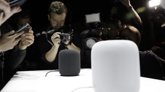 Apple will launch its smart speaker, HomePod, in Australia this week after more than six years in development. Picture: AP Photo/Marcio Jose Sanchez