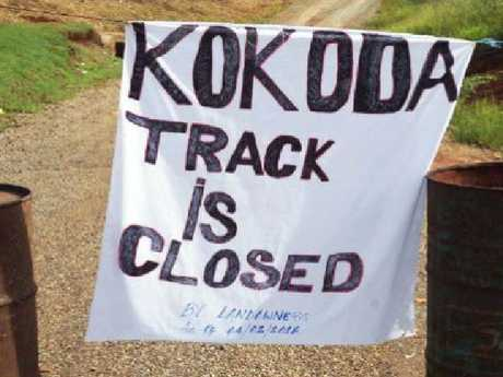 A sign at the start of the Kokoda Track. Picture: Tau Maguli