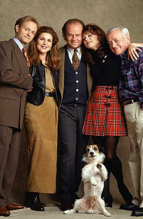 John Mahoney, far right, with his Frasier co-stars David Hyde Pierce, Peri Gilpin, Kelsey Grammer and Jane Leeves.