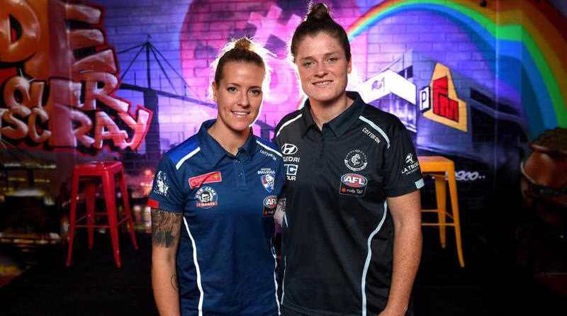 AFLW players Hannah Scott from the Western Bulldogs (left) and Brianna Davey from Carlton (right). Pic: AAP