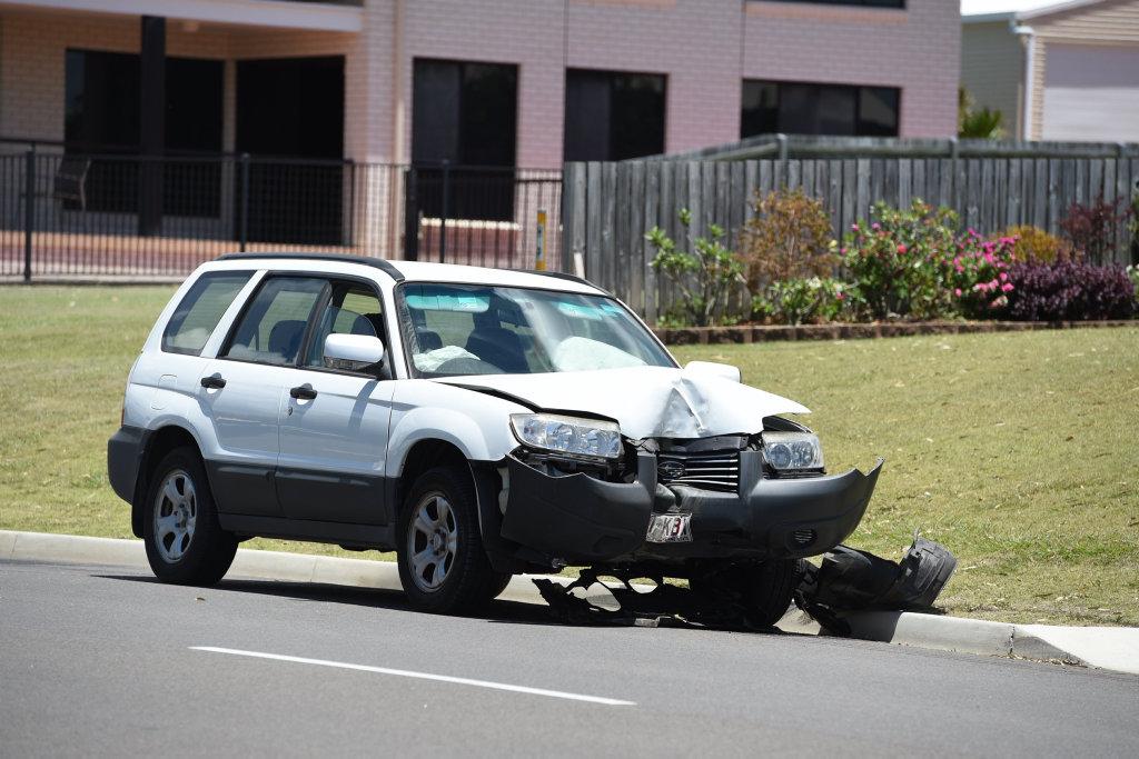 Single vehicle crash on the Esplanade at Point Vernon. Car has crashed into power pole.
