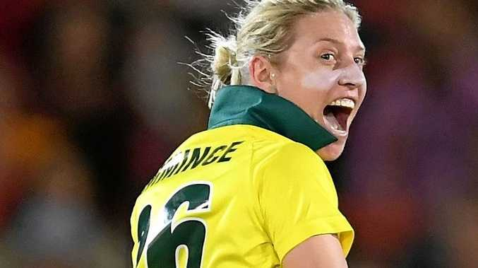 Warwick's Delissa Kimmince plays for Australia in the first Women's Ashes T20 last year.