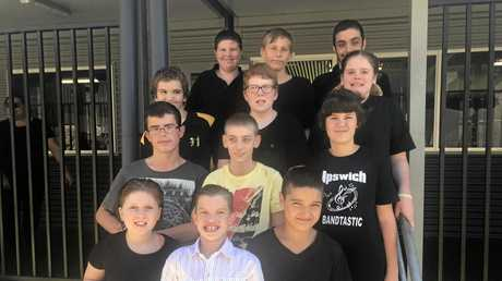 FRONT: Ipswich West State Special School students Jordie, Noah and Seth. Second row: Cody and Axel. Third row: Alex, Thomas and Kyarna. Back row: Braydon, Byron and Seth.