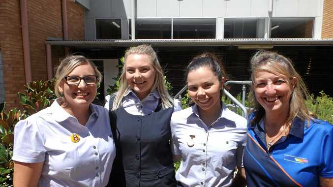 WBHHS nurse educator Cheryl Manning welcomes new graduate midwives (from left) Taylor Lorkin, Jessica Williamson and Genevieve Levitt at the Maryborough Base Hospital during their orientation week.