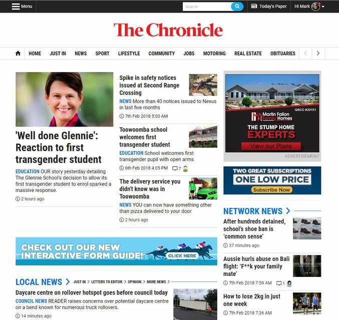 The Chronicle's website has a new look with bolder headlines and easier navigation.