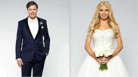Troy walked down the aisle with Ashley. Picture: Channel Nine