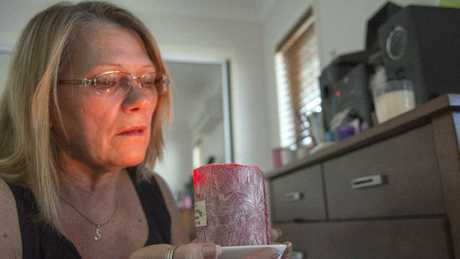 Vicki Blackburn, mother of murder victim Shandee Blackburn, lights a candle in Shandee's bedroom, in her memory, every night. Picture: Daryl Wright