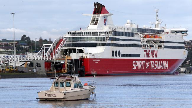 The Spirit of Tasmania on the Mersey River, Devonport. Picture: CHRIS KIDD