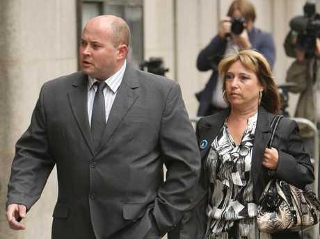 Denise Fergus, the mother of James Bulger arrives with her partner Stuart Fergus, at the Old Bailey in central London, at  Jon Venables's 2010 court hearing.