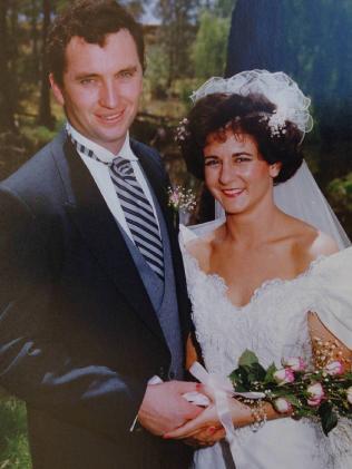On their wedding day.