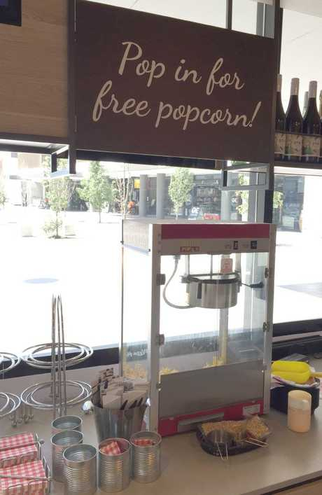 Diners are offered free popcorn while they wait for their meal.
