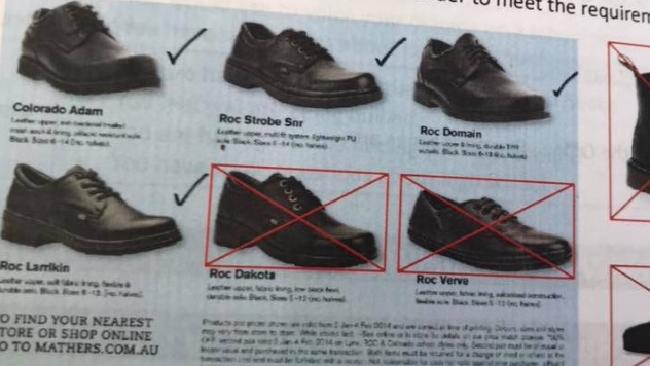 Shoe rules in The Gap State High School's student planner for 2018.