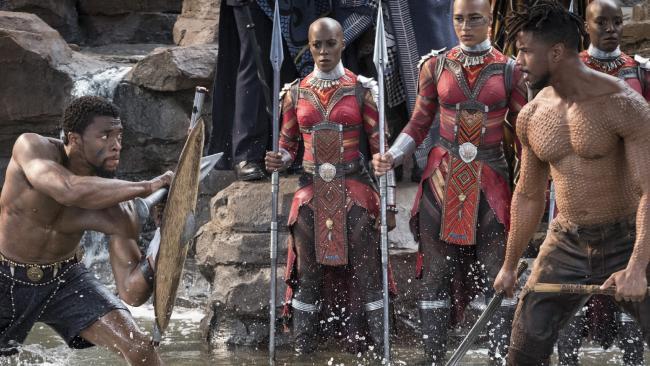 Scene from Marvel Studios' film BLACK PANTHER L to R: T'Challa/Black Panther (Chadwick Boseman) and Erik Killmonger (Michael B. Jordan). Photo: Matt Kennedy. ©Marvel Studios 2018