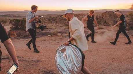 Behind the scenes at a Jaen Collective shoot with Instereo, shooting the music video for their new single Cruel. Co-director Jon Baxter searches for remote locations like this one, which is how his car accident occurred. Photo: Instagram @jaencollective