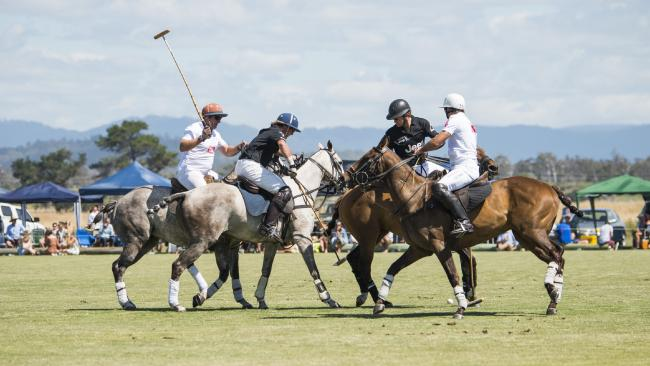 Horses compete at the polo event at Barnbougle. Picture: STU GIBSON