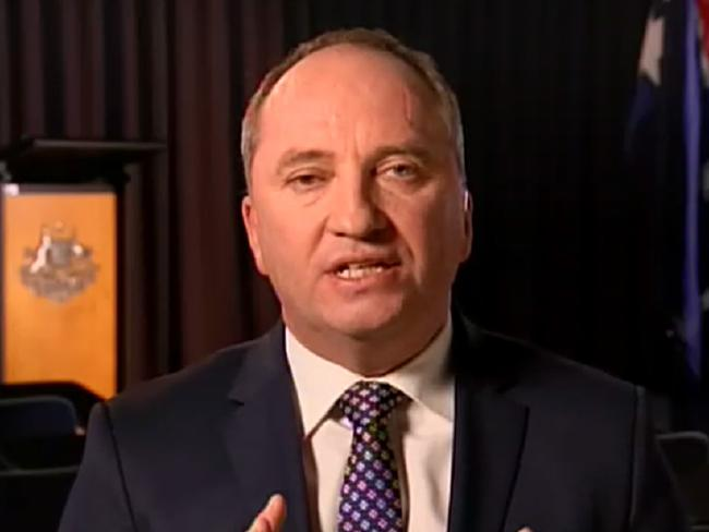 Barnaby Joyce appears on 7.30 on the ABC.