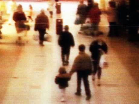 Haunting CCTV footage shows  two-year-old James Bulger being led away from the Bootle Strand shopping centre by Venables and Thompson.