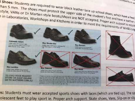 The shoe rules enforced by The Gap State High School.