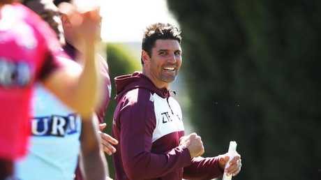 Manly coach Trent Barrett during training.
