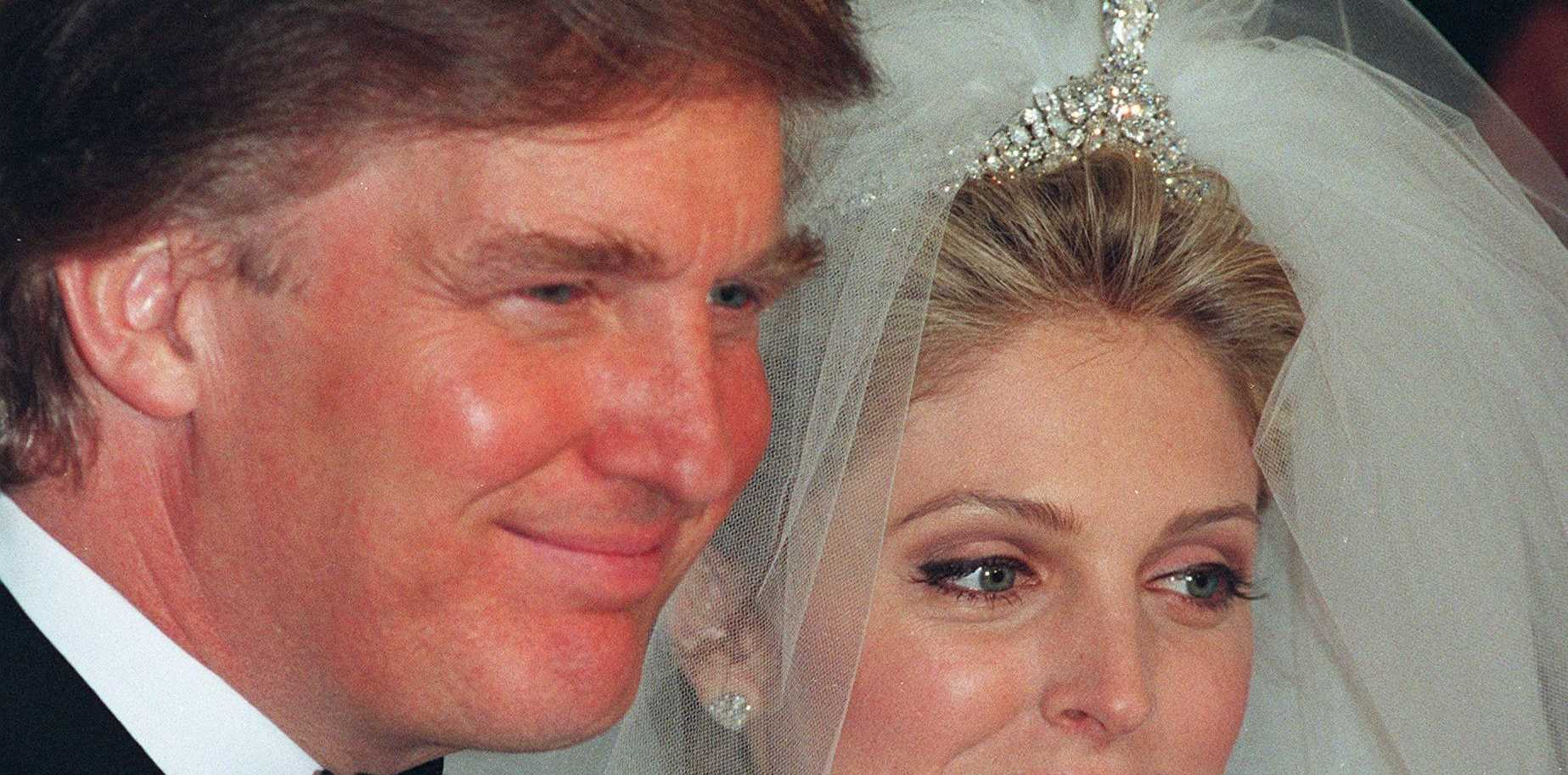 Donald Trump and Marla Maples on their wedding day