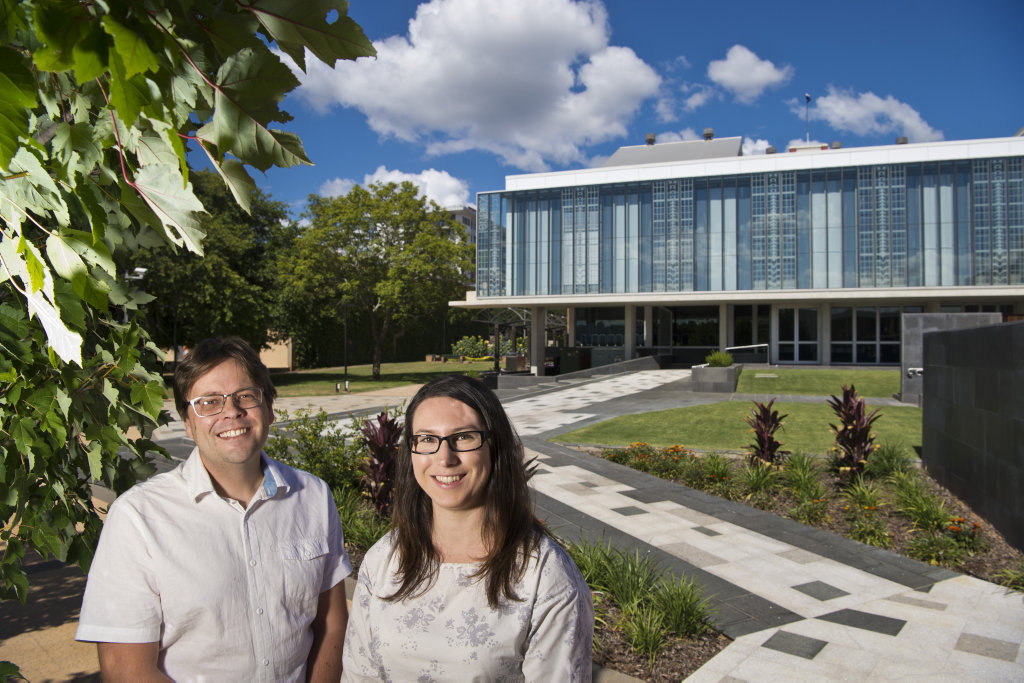 The team behind the design and concept of Toowoomba Regional Council city hall annex extension project Stephen Sims of Sims White Architects and Ashlee Adams of Toowoomba Regional Council, Wednesday, February 7, 2018.