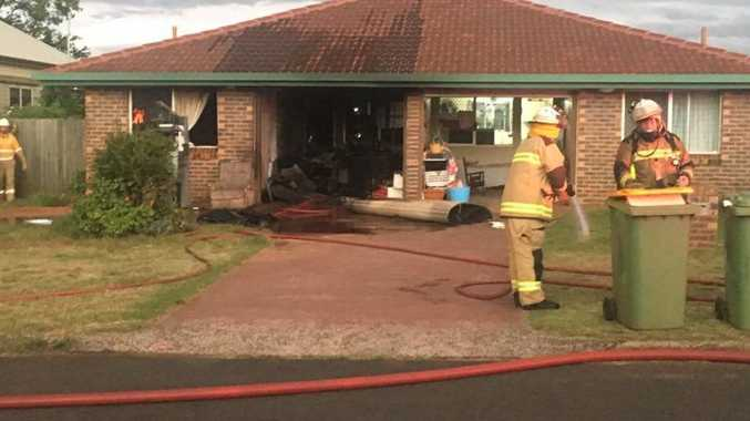 A garage caught fire at a house at Newtown last night.