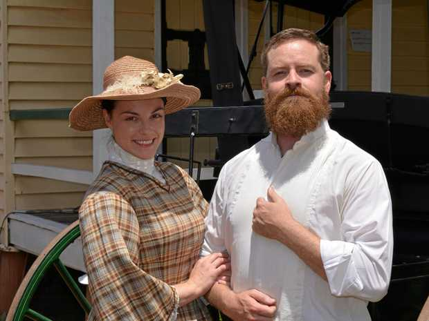 LIGHTS, CAMERA, ACTION: Actors Sarah Douch and Paul J Murphy (portraying Margaret and Edward Denny Day) are starring in the movie Myall Creek, which began filming at the Laidley Pioneer Village and Museum on Wednesday, February 7.