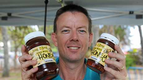 Torquay Beachside Markets - beekeeper Ivan Neilsen from Maryborough with his honey for sale.  Photo: Alistair Brightman / Fraser Coast Chronicle