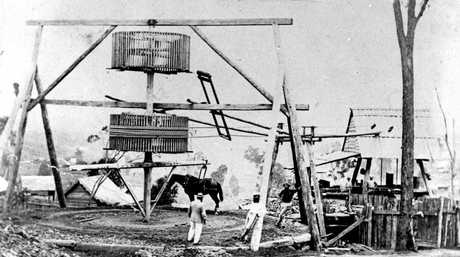 A horse-drawn whim on the Gympie goldfields in the 1870s. Whims were widely used to raise ore from mine shafts.
