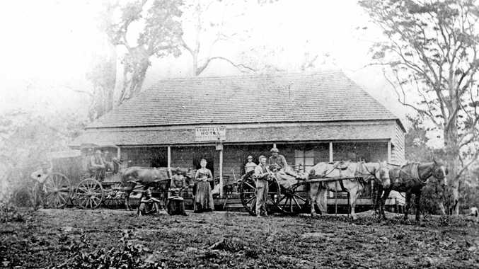 The Cobb's Camp Hotel at Woombye in 1872. The hotel, together with a keeper's residence, horse stables and horse yard, was established by Cobb & Co to provide a staging camp and accommodation for passengers following the construction of trafficable road between Brisbane and Gympie in 1868.