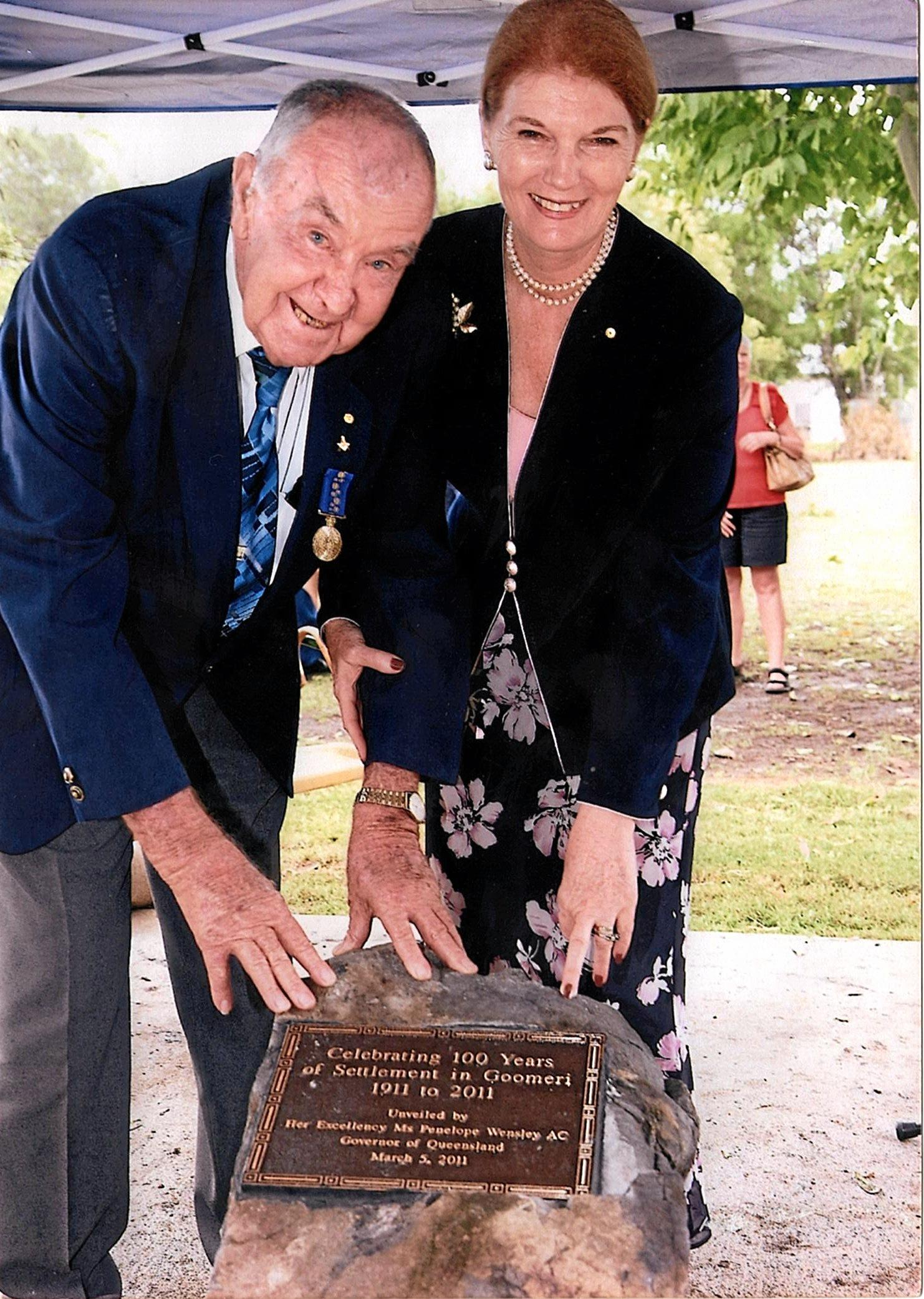 Alec McIntosh with former Governor of Queensland Penelope Wensley.