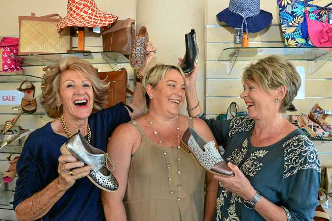 BIG SHOES: New owner of Zara Shoes and Accessories Mandy Tite (centre) with the previous owners Pam Kinloch and Margie Howard.