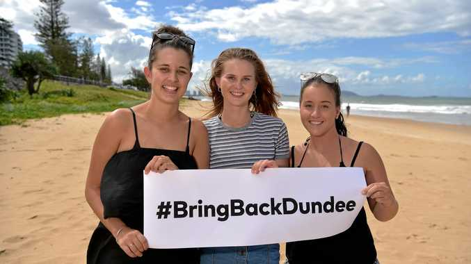 BRING IT BACK: Megan Kingston, Becci Rynne and Briana Litzow show their support for Dundee.