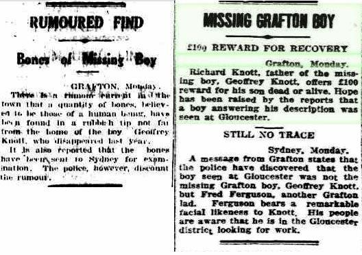 Geoffrey Knott went missing in Grafton on April 29, 1929. Left: Canberra Times, Canberra, Tuesday January 7, 1930. Right: Barrier Miner, Broken Hill, Monday May 20, 1929.