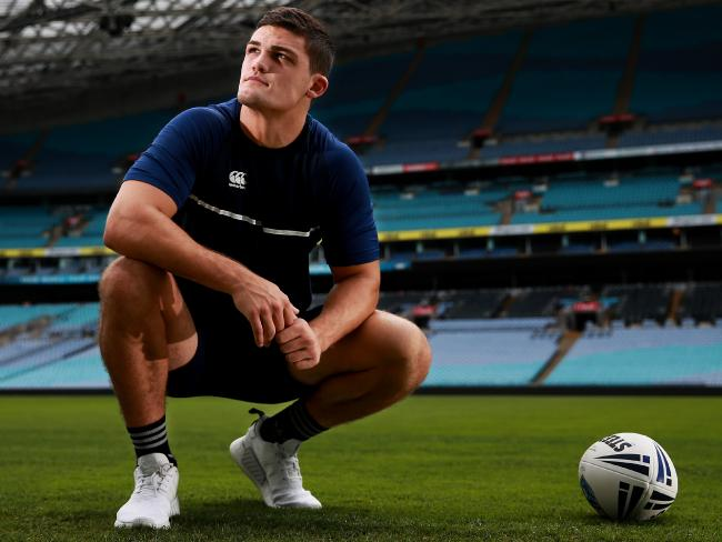 Penrith star Nathan Cleary during a NSW Emerging Blues camp. Picture: Toby Zerna