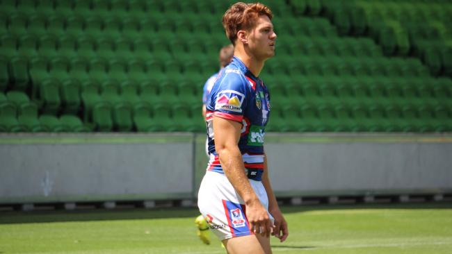 Kalyn Ponga pictured in the Knights' trial game against the Storm.