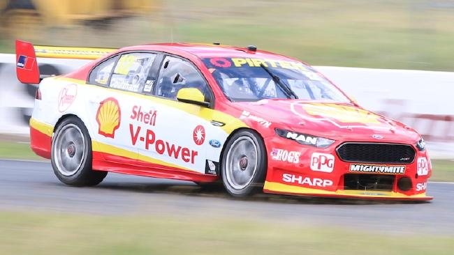Fabian Coulthard takes his new Shell Ford for a spin. Picture: Matthew Paul Photos
