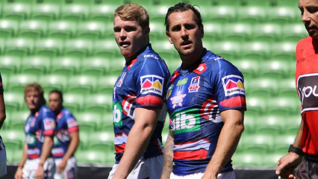 Mitchell Pearce in his first appearance for Newcastle — in private.