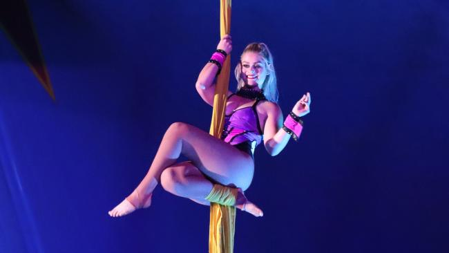A Stardust Circus performer using silks in Bathurst NSW, on February 1, 2018.