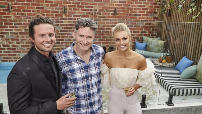 Dave Hughes with contestants on The Block Josh and Elyse shortly after buying the home they renovated.