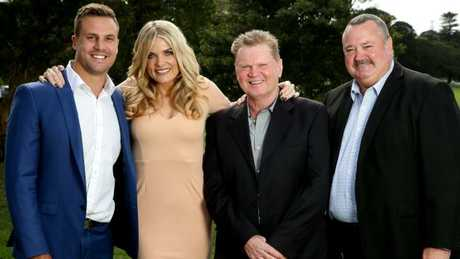 The Channel Nine Footy Show crew Beau Ryan, Erin Molan, Paul Vautin and Daryl Broham. Picture: Gregg Porteous