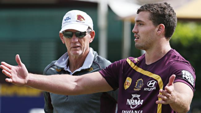 Corey Oates with Brisbane coach Wayne Bennett.
