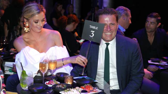 Karl Stefanovic and fiancee Jasmine Yarbrough at the David Jones Autumn Winter collection launch.